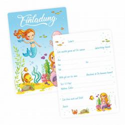 1 Einladungskarte Meerjungfrauen mit GLITZER inkl.  transparenten Briefumschlag Kindergeburtstag Mädchen Einladung