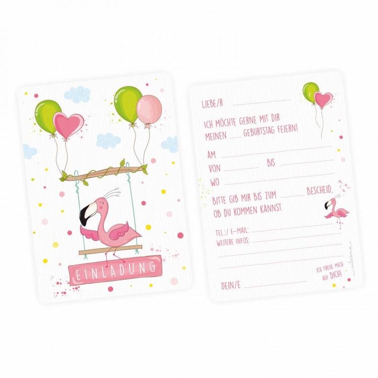 1 Einladungskarte Flamingo mit GLITZER inkl. 1 transparenten Briefumschlag Kindergeburtstag Mädchen pink rosa Einladung