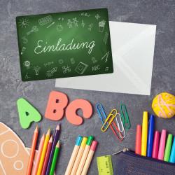 1 Einladungskarte zur Einschulung Tafel grün inkl. 1 transparenten Briefumschlag Einladung Junge Mädchen