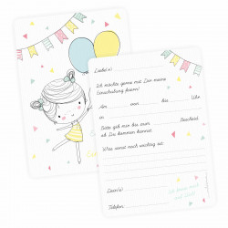 1 Einladungskartn zur Einschulung Mädchen mit Luftballons mit GLITZER inkl. 1 transparenten Briefumschlag Einladung