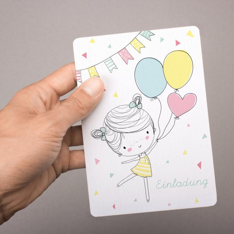 1 Einladungskarte Mädchen mit Luftballons mit GLITZER inkl. 1 transparenten Briefumschlag Kindergeburtstag Mädchene Einladung