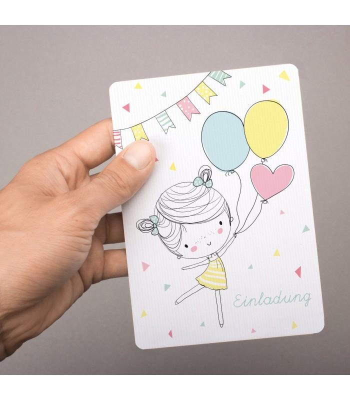 ... 5 Einladungskarten Mädchen Mit Luftballons Mit GLITZER Inkl. 5  Transparenten Briefumschlägen Kindergeburtstag Mädchene Einladung ...