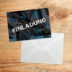 1 coole Einladungskarte Trash blau schwarz inkl. 1 transparenten Briefumschlag Kindergeburtstag Junge Teenager Einladung