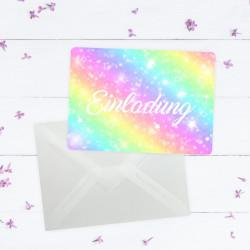 1 Einladungskarte Regenbogen Sterne mit GLITZER inkl. 1 transparenten Briefumschlag Kindergeburtstag Mädchen bunt Einladung