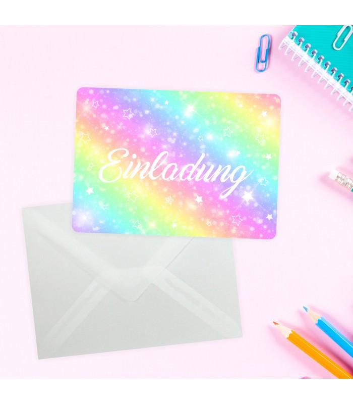 5 Transparenten Briefumschlägen Kindergeburtstag Mädchen Bunt Einladung · 1  Einladungskarte Regenbogen Sterne ...