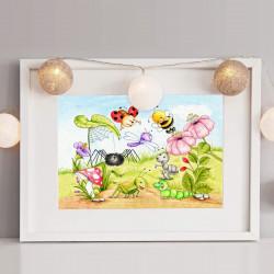 063 Krabbeltiere Zeichnung - Poster Bild für das Kinderzimmer oder Babyzimmer - Raupe Marienkäfer Biene Libelle (ohne Rahmen)