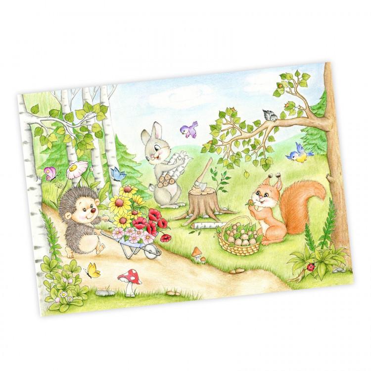 065 fleißige Waldtiere Zeichnung - Poster Bild für das Kinderzimmer oder Babyzimmer - Igel Eichhörnchen Hase (ohne Rahmen)