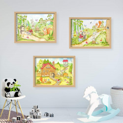 064 fleißige Waldtiere Zeichnung - Poster Bild für das Kinderzimmer oder Babyzimmer - Igel Eichhörnchen Hase (ohne Rahmen)