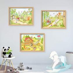 064 Waldhaus Tiere Zeichnung - Poster Bild für das Kinderzimmer oder Babyzimmer - Igel Hase Eichhörnchen (ohne Rahmen)
