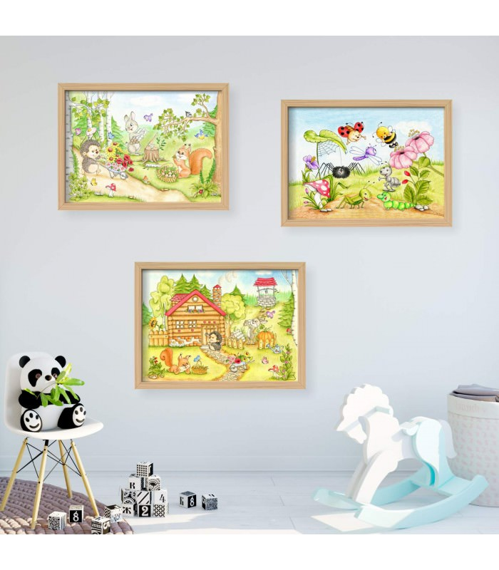 066 waldtiere zeichnung poster bild f r das kinderzimmer. Black Bedroom Furniture Sets. Home Design Ideas