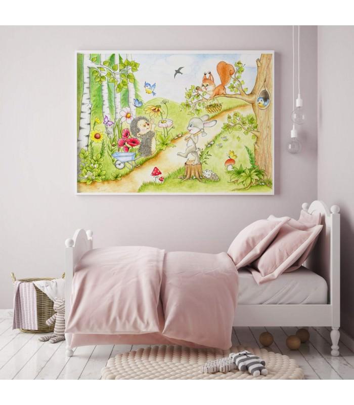 066 Waldtiere Zeichnung Poster Bild Fur Das Kinderzimmer