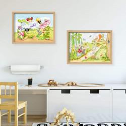 066 Waldtiere Zeichnung - Poster Bild für das Kinderzimmer oder Babyzimmer - Hase Igel Eichhörnchen (ohne Rahmen)