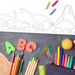 A2 Schreibtischunterlage Dinosaurier zum ausmalen
