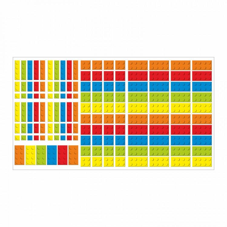 nikima - 130 Wandtattoo Lego-Steine Bricks Bausteine - 146 Stück* Möbelaufkleber