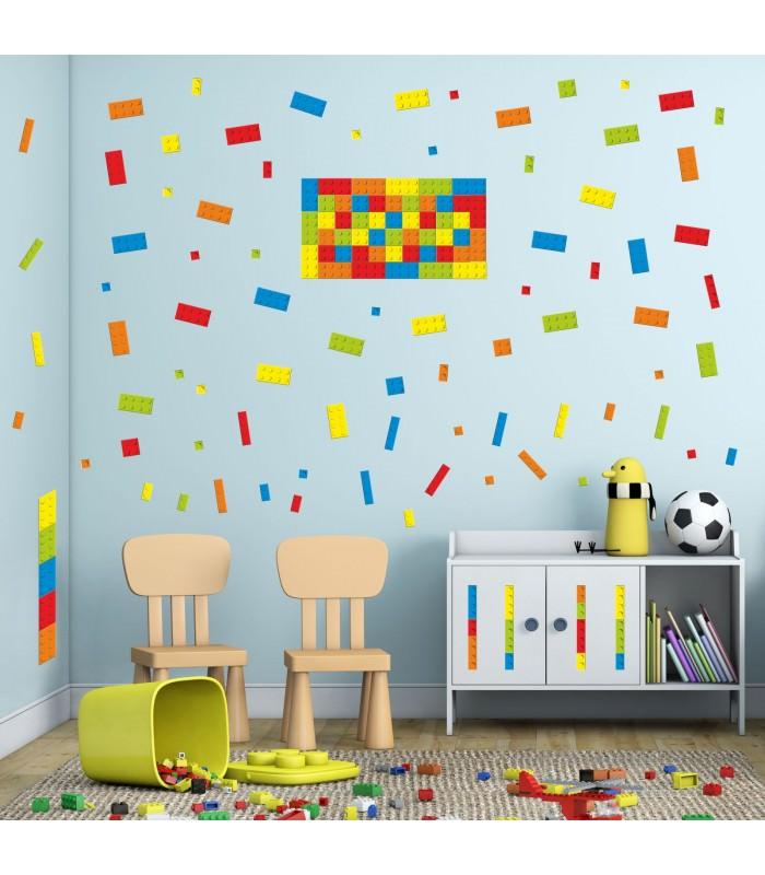 130 wandtattoo lego steine bricks bausteine m belaufkleber - Lego wandtattoo ...