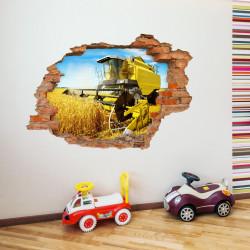 nikima - 131 Wandtattoo Mähdrescher gelb - Loch in der Wand