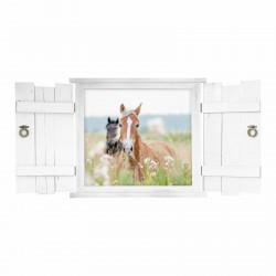 132 Wandtattoo Pferde im Fenster mit Fensterläden
