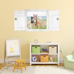 nikima - 132 Wandtattoo Pferd im Fenster mit Fensterläden weiß