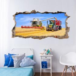 nikima - 134 Wandtattoo Mähdrescher und Traktor - Loch in der Wand