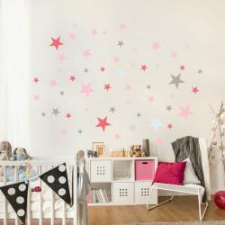 129 Wandtattoo Sterne-Set rosa pink 60 Stück