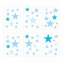 129 Wandtattoo Sterne-Set blau 60 Stück