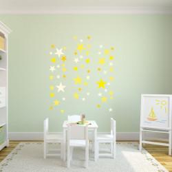 129 Wandtattoo Sterne-Set gelb 60 Stück