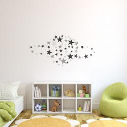 129 Wandtattoo Sterne-Set schwarz grau 60 Stück