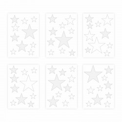 129 Wandtattoo Sterne-Set weiß grau 60 Stück