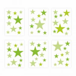 129 Wandtattoo Sterne-Set grün 60 Stück