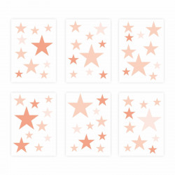 129 Wandtattoo Sterne-Set lachs 60 Stück