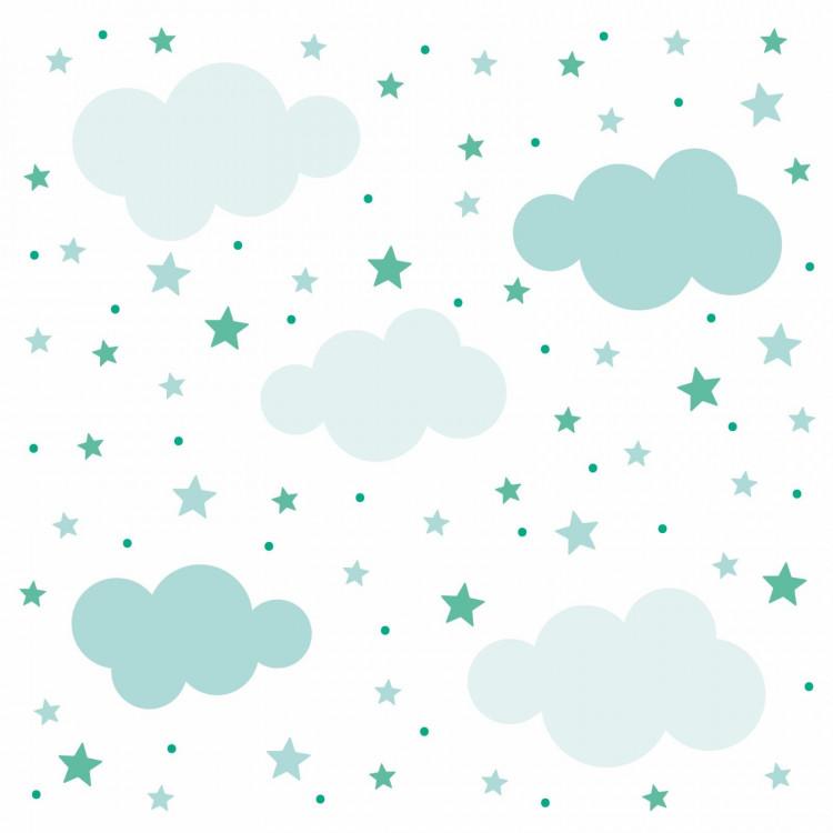 138 Wandtattoo Wolken, Sterne und Punkte Set hellblau - 87 Stück
