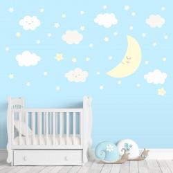 137 Wandtattoo Mond mit Wolken und Sternen weiß pastellgelb