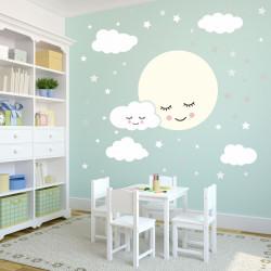 135 Wandtattoo Vollmond mit Wolken und Sternen grau weiß