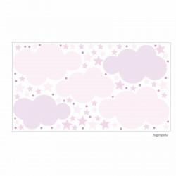 139 Wandtattoo Wolken, Sterne und Punkte Set rosa pink - 87 Stück