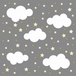 140 Wandtattoo Wolken, Sterne und Punkte Set gelb weiß - 87 Stück