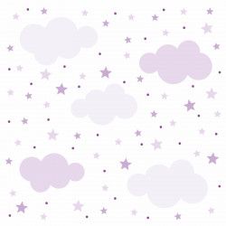 141 Wandtattoo Wolken, Sterne und Punkte Set lila flieder - 87 Stück
