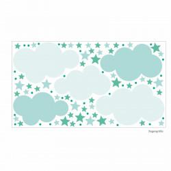 142 Wandtattoo Wolken, Sterne und Punkte Set mint weiß - 87 Stück