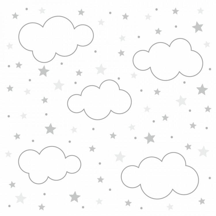 143 Wandtattoo Wolken, Sterne und Punkte Set grau weiß - 87 Stück