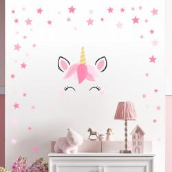 144 Wandtattoo Einhorn Sleepy Eyes Sterne rosa pink