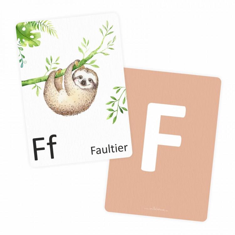 Buchstabenkarte - F wie Faultier