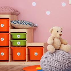 Möbelaufkleber Ordnungssticker für Spielzeug GRAU