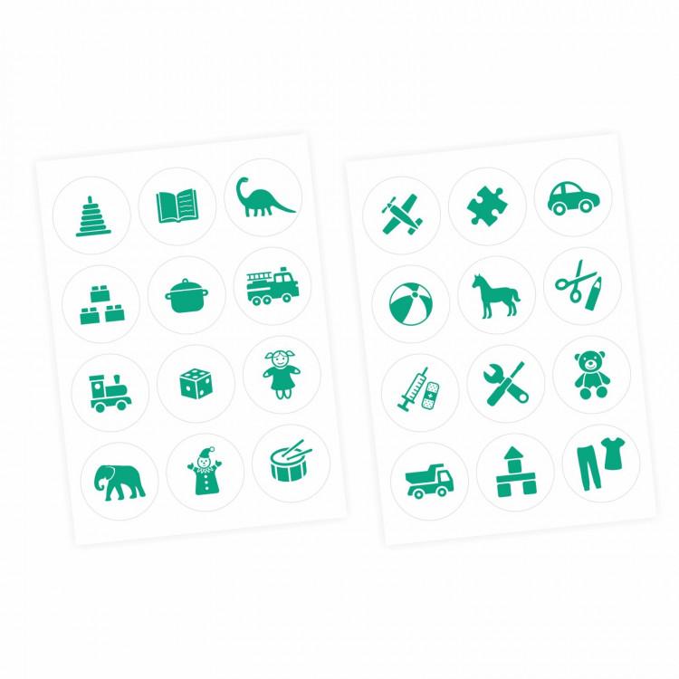 Möbelaufkleber Ordnungssticker für Spielzeug MINT/ WEISS