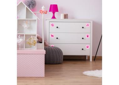 Möbelaufkleber Ordnungssticker für Spielzeug PINK/ ROSA