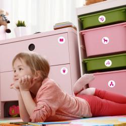 Möbelaufkleber Ordnungssticker für Spielzeug PINK/ WEISS