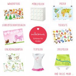 Möbelaufkleber Ordnungssticker für Spielzeug WEISS/ BLAU