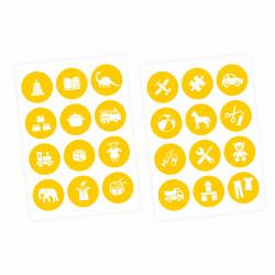 Möbelaufkleber Ordnungssticker für Spielzeug WEISS/ GELB