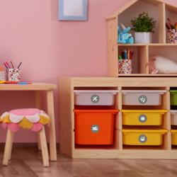 Möbelaufkleber Ordnungssticker für Spielzeug WEISS/ GRAU
