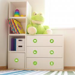 Möbelaufkleber Ordnungssticker für Spielzeug WEISS/ GRÜN