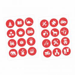 Möbelaufkleber Ordnungssticker für Spielzeug WEISS/ ROT