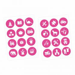 Möbelaufkleber Ordnungssticker für Spielzeug WEISS/ PINK